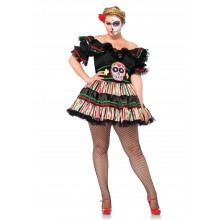 Day Of The Dead Doll kostuum dames plus
