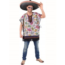 Mexican skull poncho heren